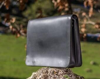 FREE SHIPPING Black messenger bag Leather laptop bag Men shoulder bag Business briefcase School crossbody bag