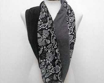 Black and White Paisley Infinity Scarf
