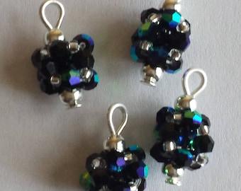 4 pendants 3mm iridescent black glass bicones