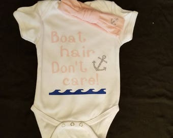 Boat Hair, Don't Care Onesie with matching headband