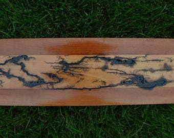 Lichtenberg Wood Burning on Poplar with Cherry Borders, Lightning Art