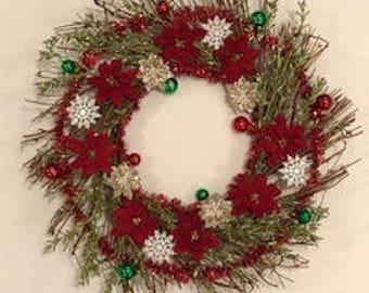 Poinsettia winter wreath