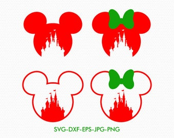 Mickey Minnie mouse svg, Christmas Disney castle svg, Disney castle monogram, Disney silhouette, Files for cricut, Files for Silhouette