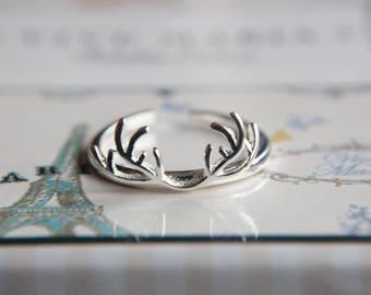 Deer ring antler ring made of 925 sterling silver-antler-size adjustable