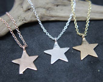 Star Necklace Silver Gold or rose pink necklace