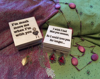 Square Wooden Gift Box Personalised with Logo, Phrase or Picture - Jewellery box