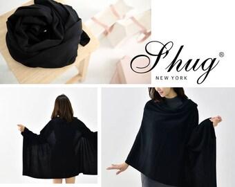 Black S'hug Cashmere Sleeved Cardigan Scarf/ Multi way Cashmere Scarf/ Cashmere Shawl/ Cashmere Wrap