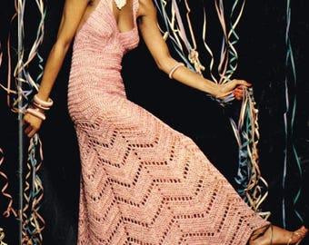 Long Chevron Gown, Maxi Dress, Halter Neck, Crochet Pattern. Instant Download.