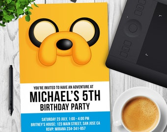 Adventure Time Invitation, Adventure Time Birthday, Adventure Time Party, Jake Printable Party Invite
