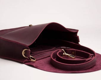 Burgundy Bag Natural leather bag Crossbody Bag Shoulder Boho Bag Leather Bag Shoulder Bag Shoulder Purse
