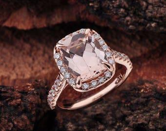Morganite Engagement Ring Rose Gold, Morganite Rose Gold Halo Engagement Ring, Rose Gold Morganite Engagement Ring Cushion Cut, Morganite
