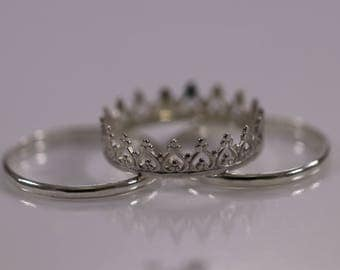 Sterling Silver Crown with Heart Shaped Pattern 3-Ring Set, Sterling Silver Band Ring, Stacking Rings, Silver Crown Ring, Solid Silver Rings