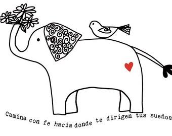 Camina Con fe Tarjeta 5x7 con Arte de Elefante