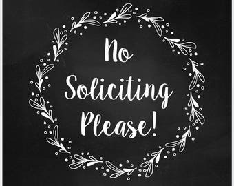 No Soliciting Sign, No Soliciting Vector, Cuttable, SVG, Vinyl, Sticker, Digital File, DXF, Scalable, Print, Cut File, Silhouette Cameo