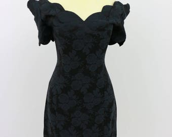 Expo Nite Vintage Black On Black Cold Shoulder Dress