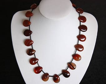 Necklace with carnelian 'Drops' 50cm in length.