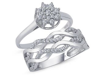925 solid sterling silver 2 piece cz bridal ring set infinity design twisted ring comfort fit - Infinity Wedding Ring Set