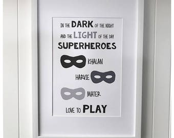 Superhero siblings print