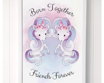 Twin Unicorns Print -  Born Together Friends Forever