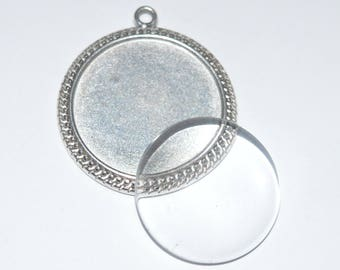 10 pieces: 5 medium antique silver flat round pendant + 5 cabochons 25mm