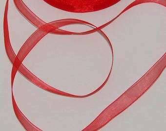 5 m organza Ribbon 10mm transparent red