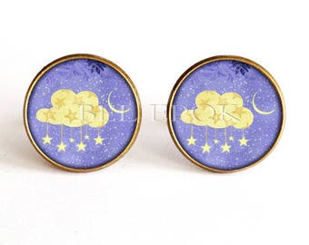 Blue yellow and romantic poetic cloud cuff links