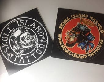 Vinyl sticker Sticker Set Skull Island tattoo 9.5 cm Waterproof waterproof outdoor