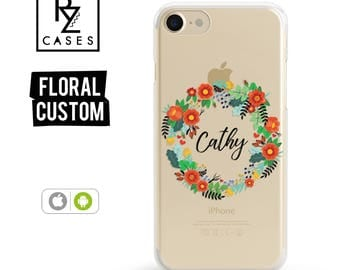 Personalized Case, Custom Phone Case, Floral Phone Case, iPhone 7 Case, iPhone 6s, Floral iPhone, iPhone 5, iPhone 6 Plus, Samsung Galaxy