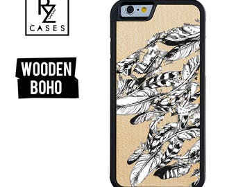 Wooden Phone Case, Feather Phone Case, Wooden iphone Case, Boho Phone Case, iPhone 7 Case, iphone 6, Wooden Boho, Gift for Her, iPhone 6s