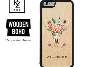 Wooden Phone Case, Boho Phone Case, Wooden Personalized Case, Bull Skull Case, Skull Case, iPhone 7 Case, iphone 6, Gift for Her, iPhone 6s