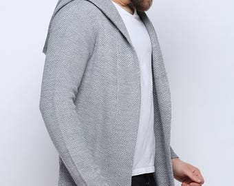 Gray Knitwear Cardigan Hooded Sweater