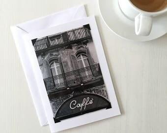 Italian Cafe blank art greeting card