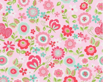 Fabric by the Yard, Floral Fabric Cotton Fabric 100% Cotton Fabric Quilting Fabric Apparel Fabric Quilt Fabric Pink Floral Fabric Yardage