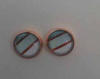 12mm Rose Gold  Colour Aqua and White Cabachon   Stud Earrings