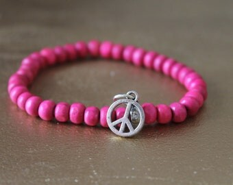 Bracelet PEACE AND LOVE - silver charm beads rosewood - designer jewelry - beaded - bracelet with wood - hippie chic - peace - love