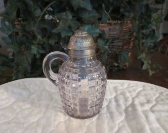 Primitive Antique Pressed Glass Syrup Pitcher With A Tin Top