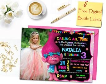 Trolls Birthday Invitation, Trolls Invitation, Trolls Photo Invitation, Trolls Party Invitation, Trolls Water Bottle Label, Trolls, Poppy