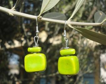 Apple green earrings ceramic