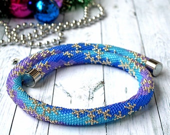 Winter bead crochet necklace Chunky bead rope necklace Blue violet seed bead jewelry Snowflake necklace crocheted Christmas gift girlfriend
