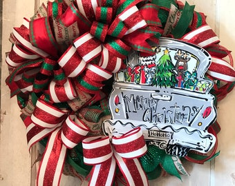 Front Door Wreath, Wreath for Christmas, Best Door Wreath, Holiday Wreath, Xmas Decor, Custom Wreath, Vintage Christmas, Merry Christmas