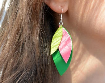 """Multicolored leather """"Petals"""" earrings"""