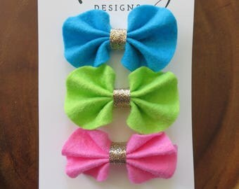 Blue, Green, and Pink Ruffle Felt Bow Hair Clip Set