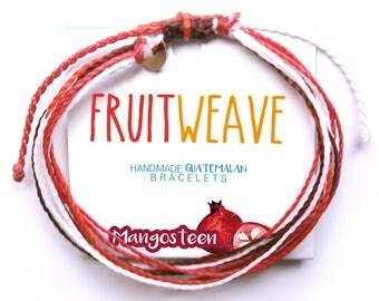 MANGOSTEEN STRING BRACELET, Guatemalan Bracelets, Handmade bracelets, colorful bracelets, fruit based, fruit weave, friendship bracelets.