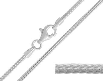 925 Sterling Silver Foxtail 1.5mm Chain Necklace 16 18 20 22 24 26 28 30 inches