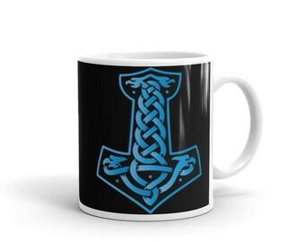 Mjolnir Blue and Black on Black Printed Vikings Symbol Coffee Mug 11oz or 15oz