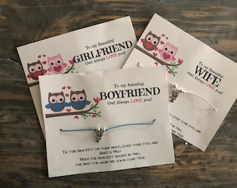 Owl always love you wish bracelet.I'll always love you wish bracelet.Wife/Girlfriend wish bracelet .Husband - Boyfriend wish bracelet.