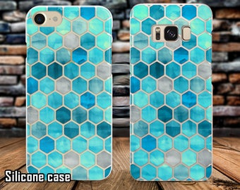 Iphone Colored Rhombus case Silicone samsung case Blue case Galaxy S8 plus case Colorful cover Clear Silicone cover Google case Iphone cover