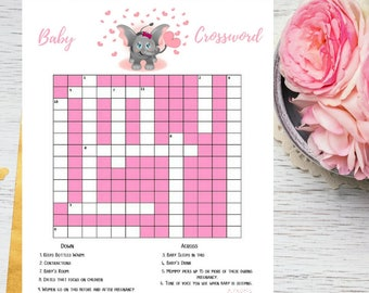 Pink Elephant Baby Shower Crossword Puzzle Printable Game