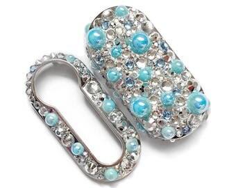 Fiat 500 key cover baby blue light pale pop lounge case fob crystal girly car accessories keyring keychain diamante diamond rhinestone pearl