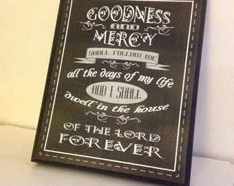 Goodness and Mercy Sign, Dwell In the House of The Lord Sign, Inspirational Sign, Faux Chalk Sign, Black and White Sign